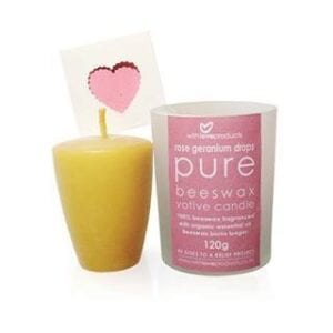 With Love Rose Geranium Drops Pure Beeswax Votive Candle