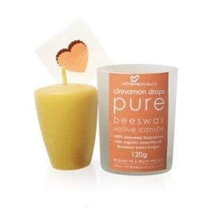 With Love Cinnamon Drops Pure Beeswax Votive Candle
