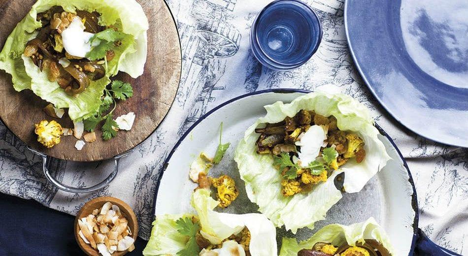 Spicy roast cauliflower in lettuce cups
